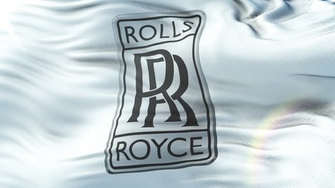 ROLLS ROYCE flag waving on sun. Seamless loop with highly detailed fabric texture. Loop ready in 4k resolution.