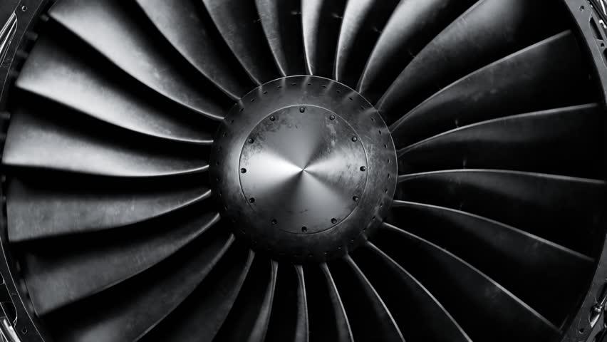 Closeup shot of spinning jet engine front fan. CFM56 | Shutterstock HD Video #1010826209