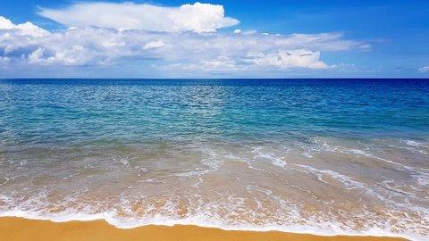 Beautiful beach with blue sky at Mai khao beach, Phuket, Thailand , tropical andaman seascape scenic off coast of phuket thailand with wave crashing on sandy shore