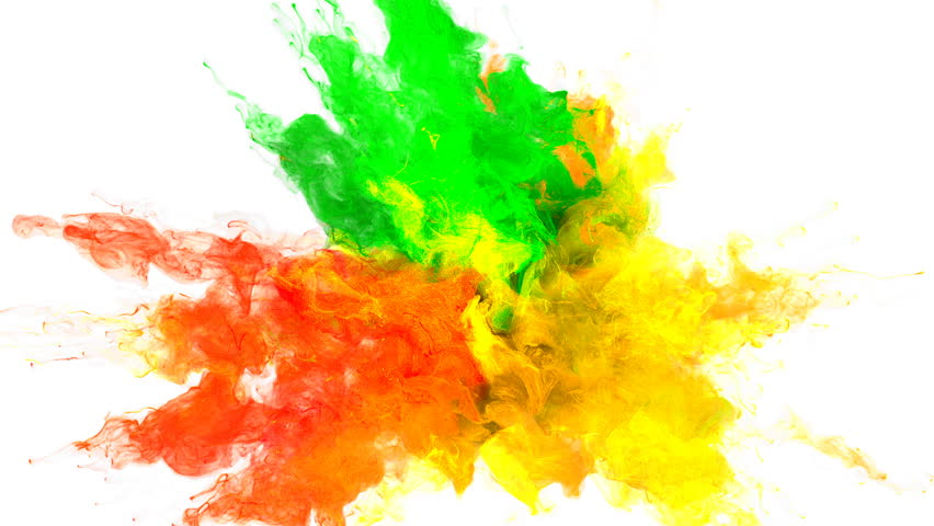 Color Burst - colorful green orange yellow smoke explosion fluid gas ink particles slow motion alpha matte isolated on white | Shutterstock HD Video #1010872469