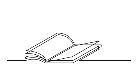 Self drawing animation of one line drawing of isolated vector object - open  book