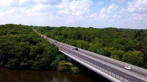 Aerial A11 highway in Nantes bridge