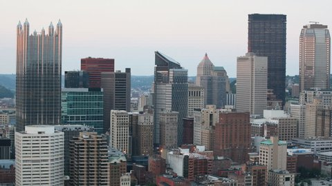 Day to night timelapse of the Pittsburgh, Pennsylvania downtown 4K