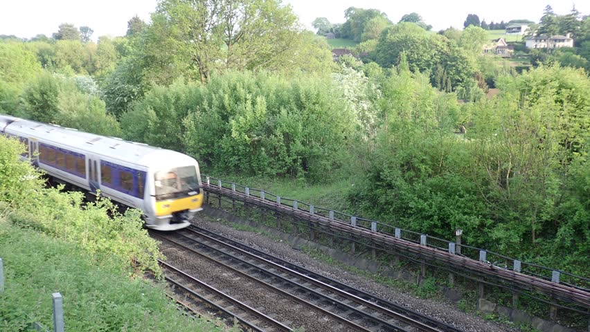 Chiltern Railways train passing by in Hertfordshire countryside