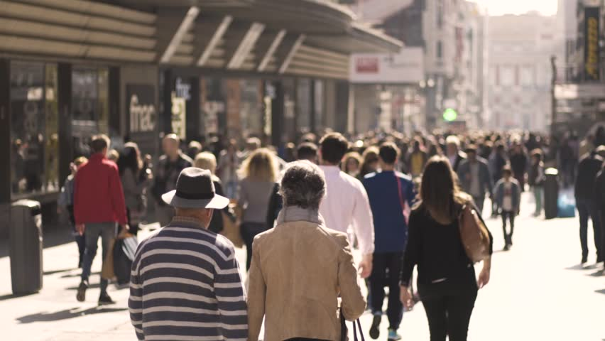 Madrid, Comunidad de Madrid, España. 02/17/2018; Slow motion of street of Madrid town with people walking and shopping. #1010973299