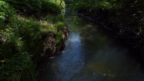 stream watercourse. fly over river