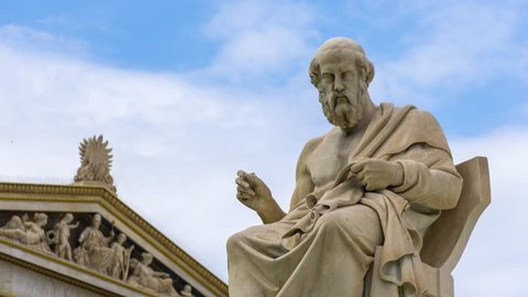 Marble Statue of the Great Greek Philosopher Plato, Greece