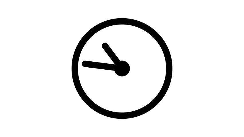 Stopwatch animated icon. Clock with moving arrows animation with optional luma matte. Alpha Luma Matte included. 4k video