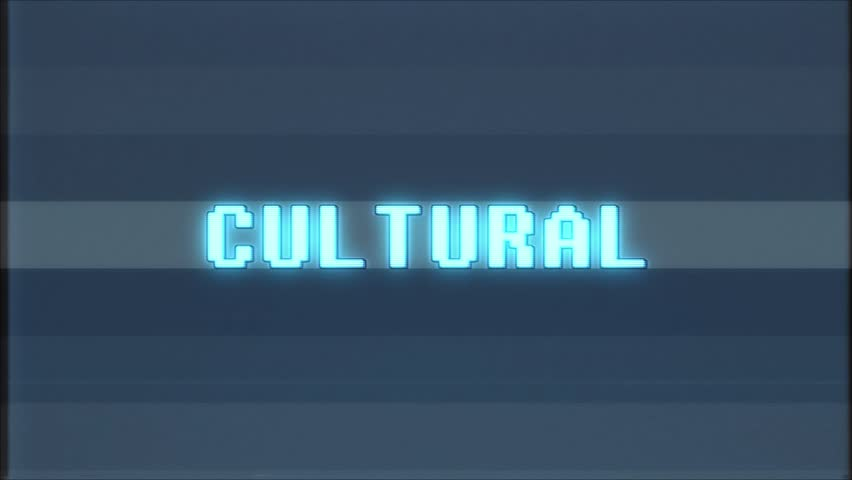 Retro videogame CULTURAL word text computer tv glitch interference noise screen animation seamless loop New quality universal vintage motion dynamic animated background colorful joyful video  | Shutterstock HD Video #1011011669