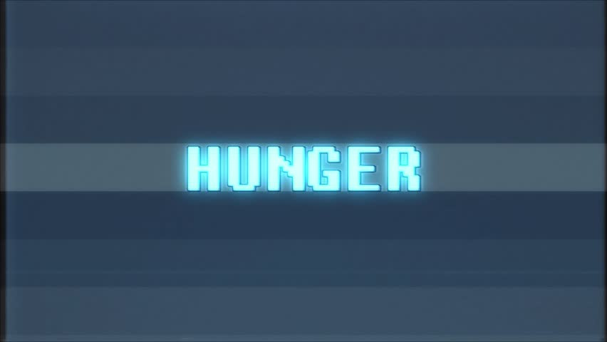 Retro videogame HUNGER word text computer tv glitch interference noise screen animation seamless loop New quality universal vintage motion dynamic animated background colorful joyful video  | Shutterstock HD Video #1011011699