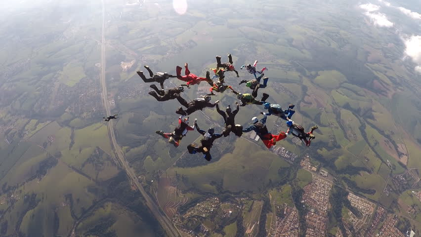 Skydiving formation group | Shutterstock HD Video #1011012389