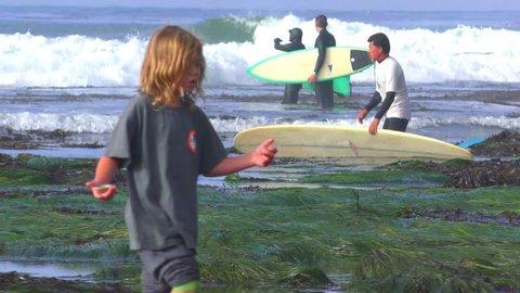 SANTA CRUZ, CA, USA - 30, APRIL 2017: Unidentified people at the SurfAid Cup 2017 at Pleasure Point in Santa Cruz, California, USA. SURFAID is a non-profit humanitarian organization.