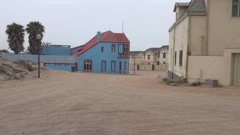 HD high quality summer day video of small coastal harbour town Luderitz attractive German colonial architecture buildings in the Namib Desert Sperrgebiet area in the south of Namibia, southern Africa