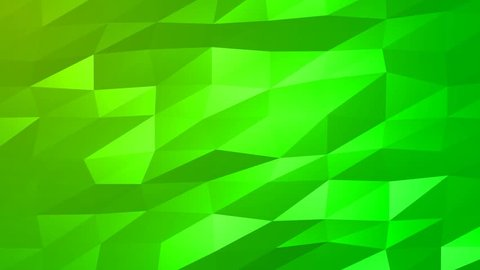 Loopable Abstract Green Low Poly 3D surface as CG background. Soft Polygonal Geometric Low Poly motion background of shifting Green polygons. 4K Fullhd seamless loop background render V74