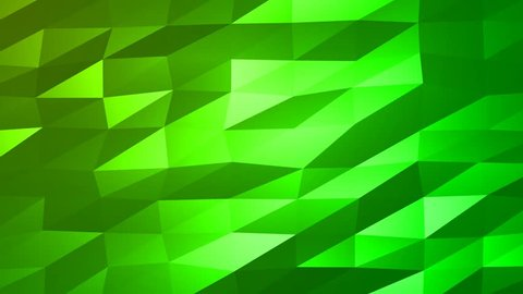 Loopable Abstract Green Low Poly 3D surface as CG background. Soft Polygonal Geometric Low Poly motion background of shifting Green polygons. 4K Fullhd seamless loop background render V56