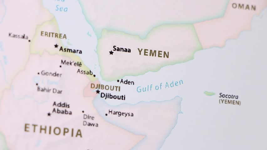 Yemen on a political map of the world. Video defocuses showing and hiding the map.