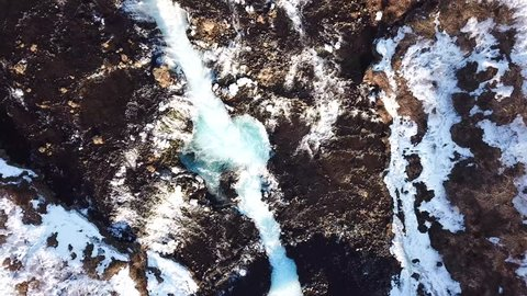Winter aerial view of the river in the mountains