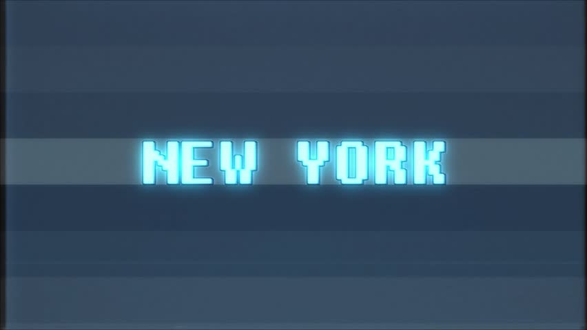Retro videogame NEW YORK word text computer tv glitch interference noise screen animation seamless loop New quality universal vintage motion dynamic animated background colorful joyful video m | Shutterstock HD Video #1011191069