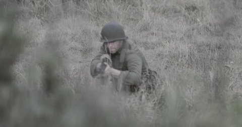 Soldier walking through bush - Graded version