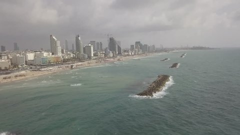 Tel Aviv beach 4k aerial drone footage ungraded flat