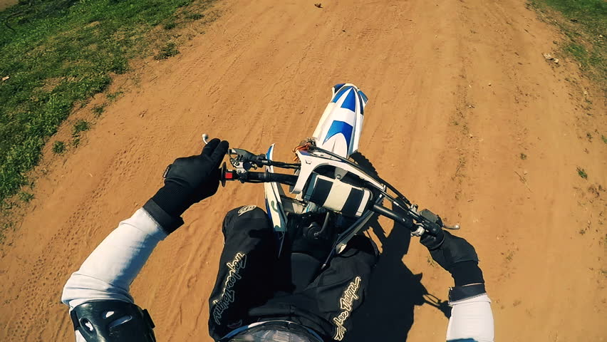 Biker on a motorcycle, first person view.   Shutterstock HD Video #1011263369