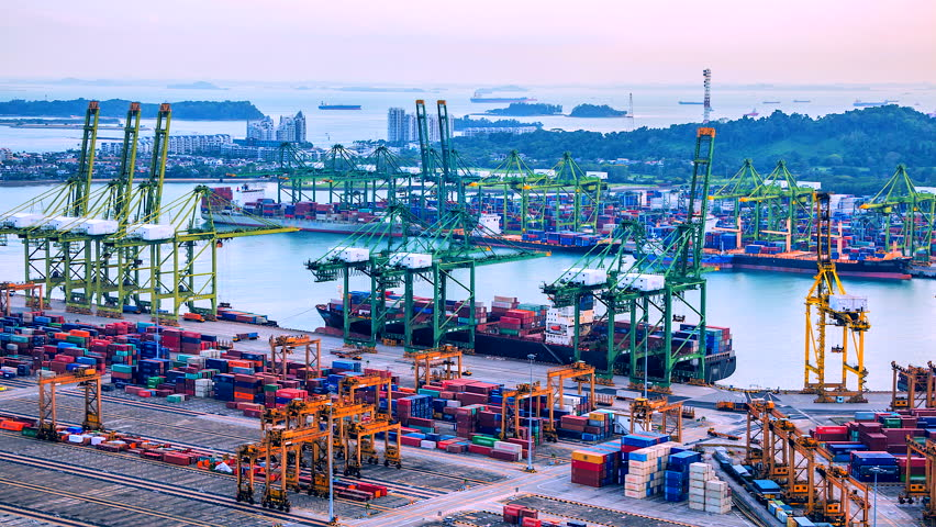 4K.Time lapse view of Deep water por twith Container Port container global Cargo ship and export commercial shipping freight travel business cargo at Singapore
