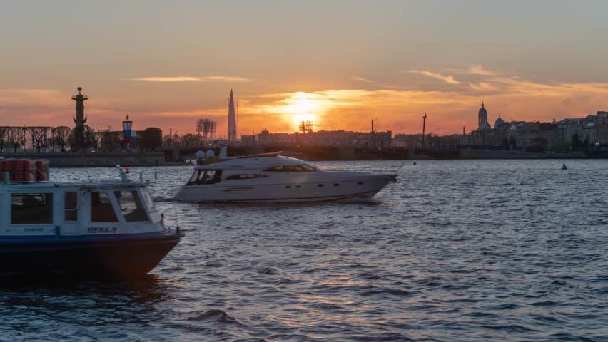 Saint-Petersburg. Sunset on the Neva river | Shutterstock HD Video #1011290459