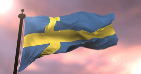 Flag of Sweden waving at wind in slow at sunset, loop