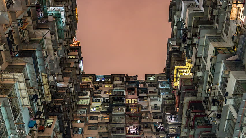 4k. Time lapse of old apartment with Moving Cloud in Hong Kong of China | Shutterstock HD Video #1011313979