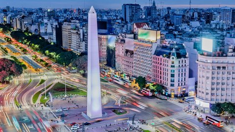 Argentina Buenos Aires night time lapse of downtown at rush hour with obelisco