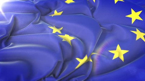 European Union flag.Flag of European Union Beautiful 3d animation of European Union flag in loop mode.European Union flag animation