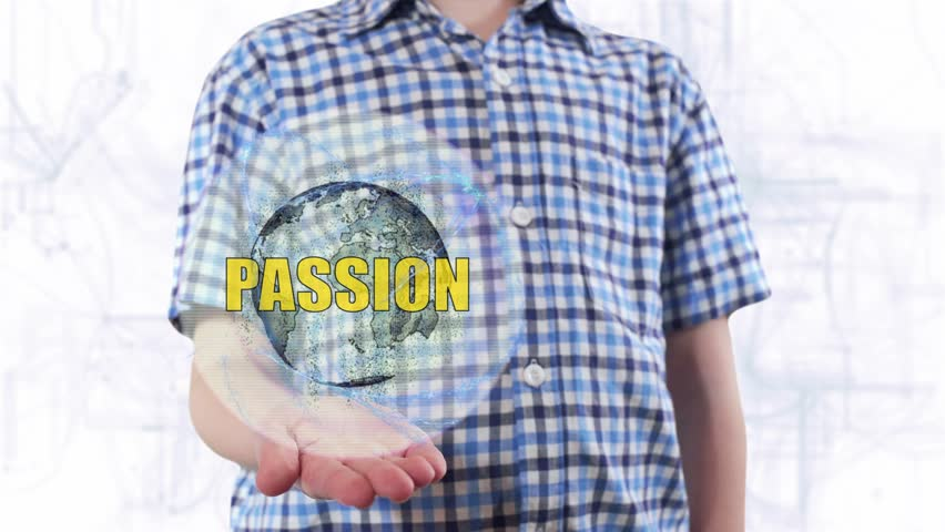 Young man shows a hologram of the planet Earth and text Passion. Boy with future technology 3d projection on a modern white digital background