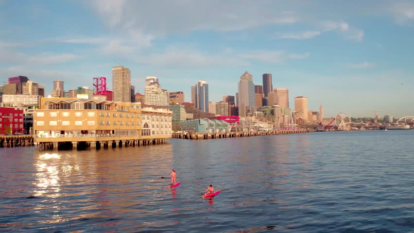 Shot of Seattle Skyline at Sunset by Aerial Drone | Shutterstock HD Video #1011418469