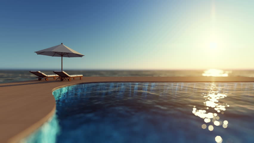 3d rendering footage of white umbrella and 2 wooden daybed on the infinity swimming pool timber terrace which have sea as background. Cinemagraph style