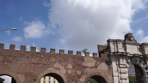 View of Porta San Giovanni, one of the doors that open in the Aurelian Walls of Rome