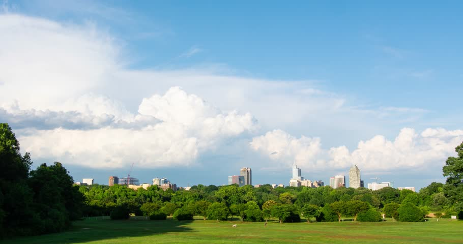 Time Lapse View of a summer thunderstorm rolling over downtown Raleigh, North Carolina from Dorthea Dix Park
