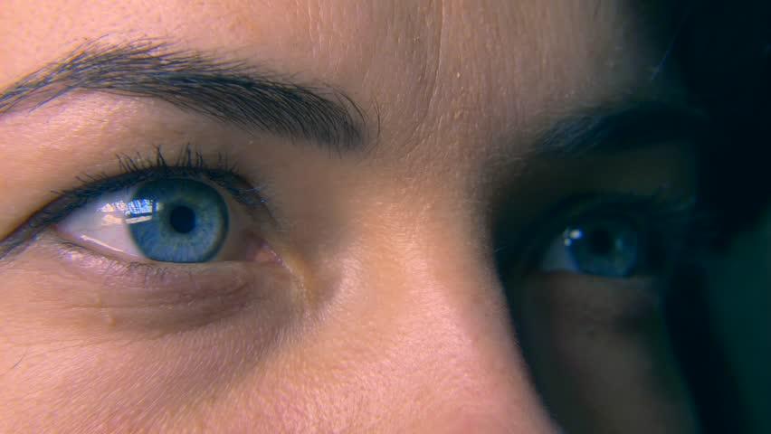 Close-up. Macro Blue Female Human Eye. Pupil Cornea Iris Eyeball Eyelashes. Blink Open Closed. 30p Slow motion 1/2 Real Time Speed 60p | Shutterstock HD Video #1011459749