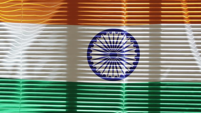 Hanging flag of India at wide jalousie window | Shutterstock HD Video #1011468779