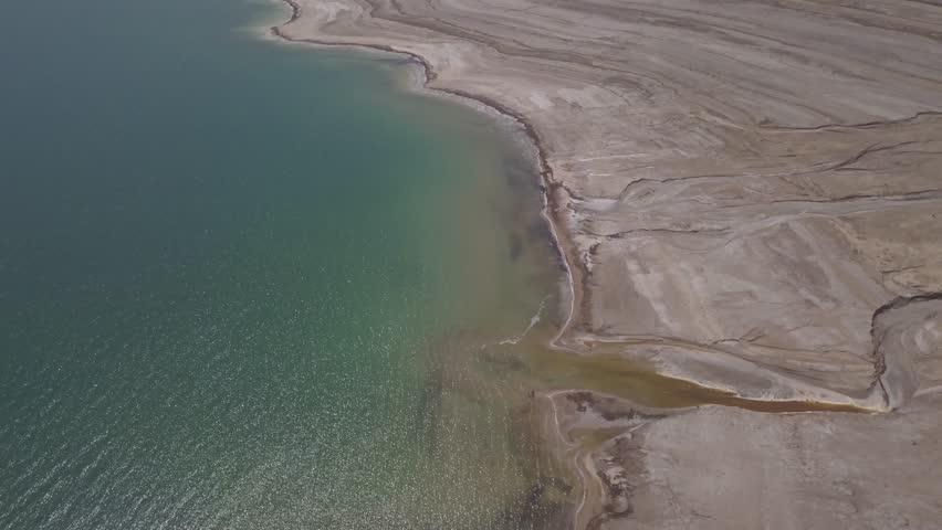 Dead sea desert 4k aerial view ungraded flat | Shutterstock HD Video #1011483179