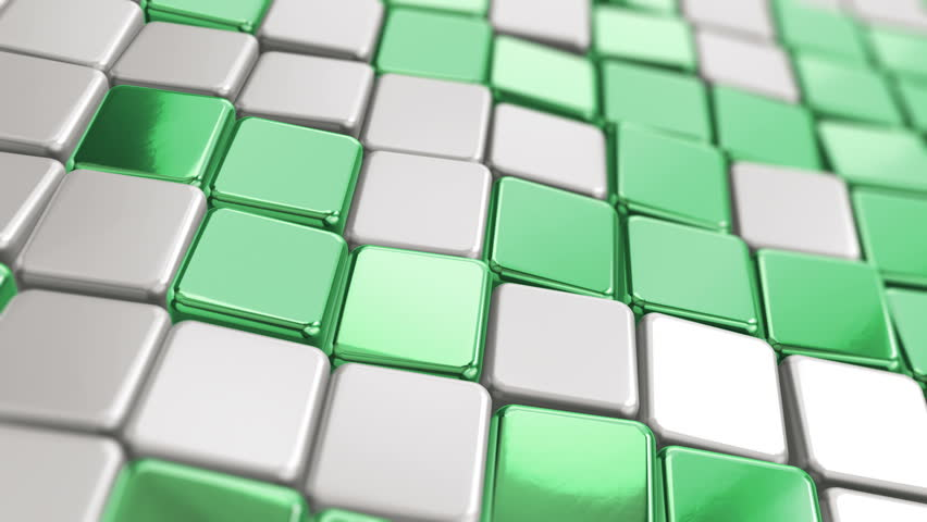 Abstract background with animation of wave mosaic of metallic blocks. Technological backdrop. Animation of seamless loop. | Shutterstock HD Video #1011512699