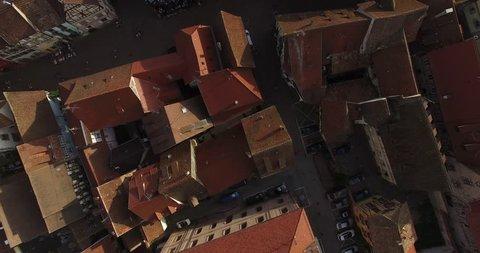 RIQUEWIHR VILLAGE. ALSACE VINEYARD REGIO. DRONE 4K FOOTAGE.