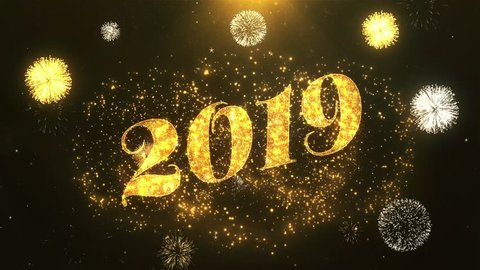 Happy new year 2019 Greeting Card text Reveal from Golden Firework & Crackers on Glitter Shiny Magic Particles & Sparks Night star sky for Celebration, Wishes, Events, Message, holiday, festival