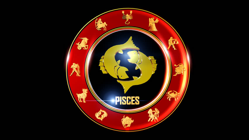 PISCES Zodiac sign   It`s Nice rotating 3d golden Zodiac sign (Indian astrology) with transparency