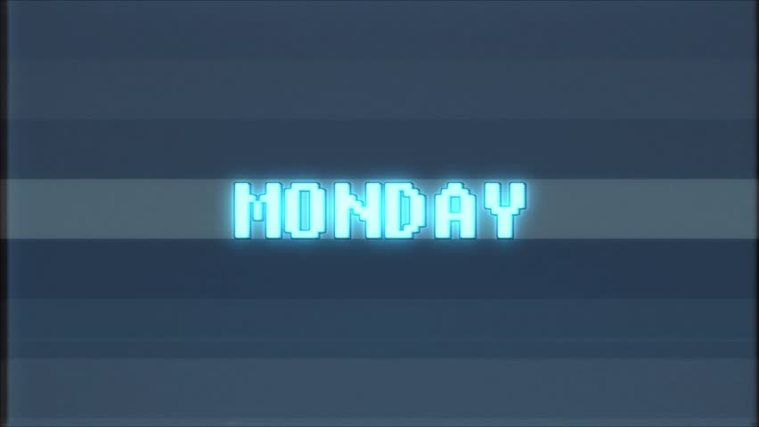 Retro videogame MONDAY word text computer tv glitch interference noise screen animation seamless loop New quality universal vintage motion dynamic animated background colorful joyful video m | Shutterstock HD Video #1011569429