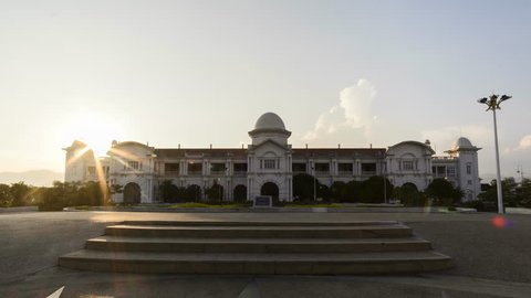 Timelapse of Majestic Ipoh Railway Station during Sunset With Beautiful Cloud at Ipoh,Malaysia.4K.