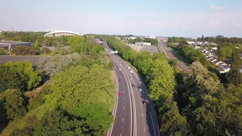 Aerial topview french road in Nantes