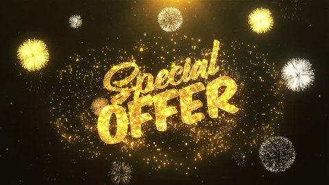 Special Offer Greeting Card text Reveal from Golden Firework & Crackers on Glitter Shiny Magic Particles & Sparks Night star sky for Celebration, Wishes, Events, Message, holiday, festival