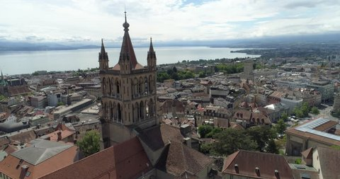 Lausanne cathedral and lake - Aerial 4K