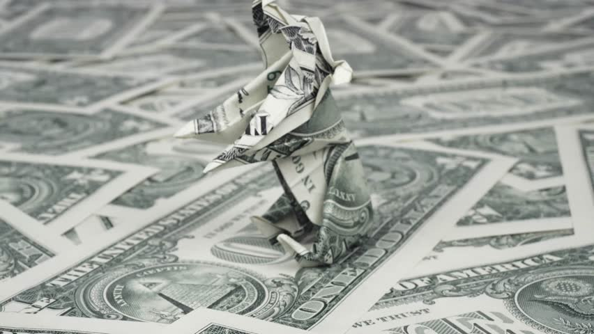 Bear origami made with dollar bills Bear market concept | Shutterstock HD Video #1011640979
