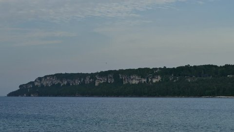 High cliff line along the shores of Lion's Head on the Bruce Peninsula